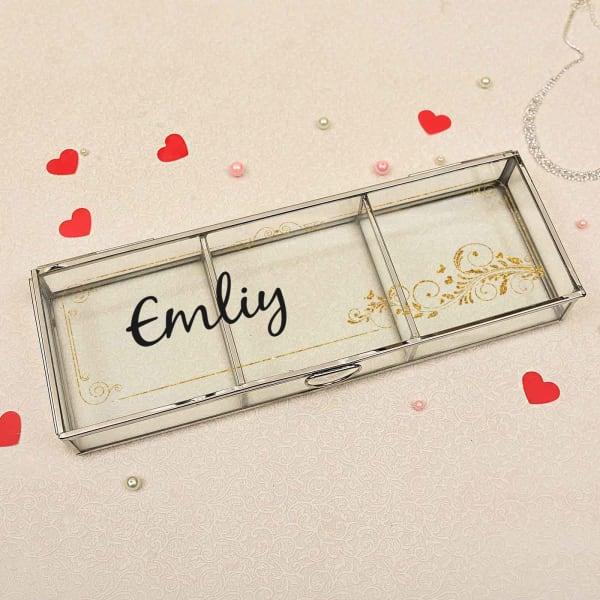 Golden Motif Personalized Glass Jewelry Box