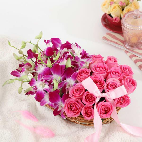 Gorgeous Purple Orchids & Pink Roses in Basket Arrangement