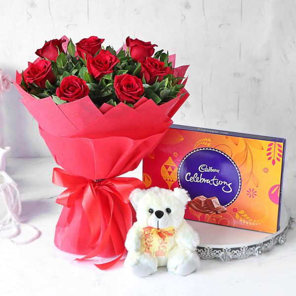Gorgeous Red Rose Bouquet with Teddy & Cadbury Celebrations