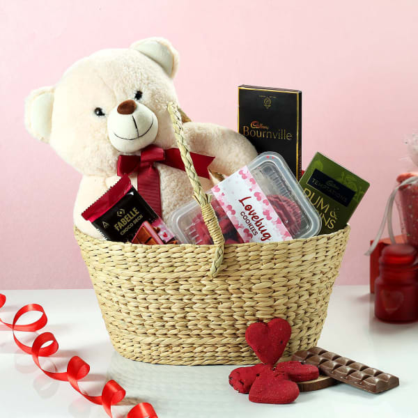 Gourmet Chocolates and Cookies with Teddy in Basket