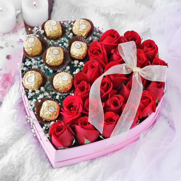 Gourmet Chocolates and Red Roses in Heart Shaped Gift Box