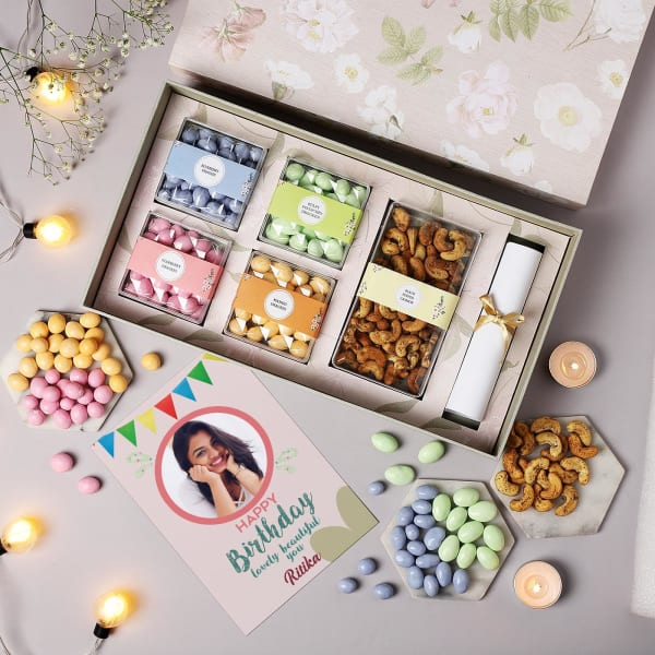Gourmet Dragees And Flavoured Cashews With Personalized Birthday Card