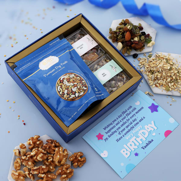 Gourmet Health Hamper With Personalized Birthday Card