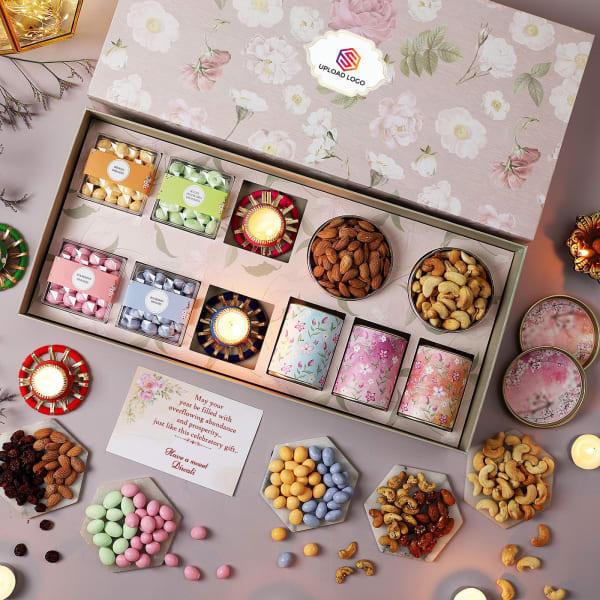 Gourmet Treats And Diyas Diwali Hamper - Customized With Logo