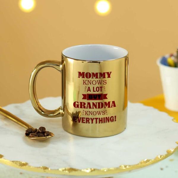 Grandma Knows Everything Personalized Golden Mug