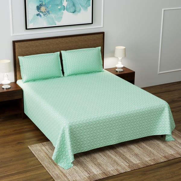 Green Leafy Print Fitted Double Bedsheet