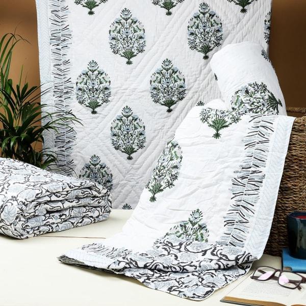 Green Reversible Jaipur Block Print Single Quilt