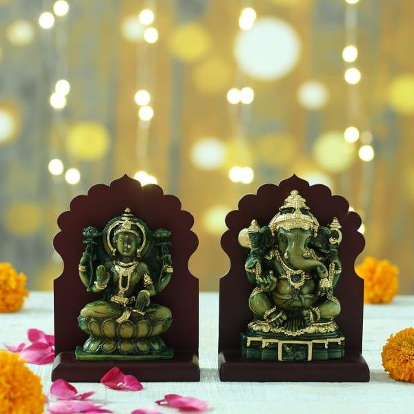 Green Shade Laxmi Ganesha Idols