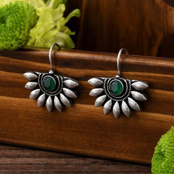 Green Stone Floral Earrings