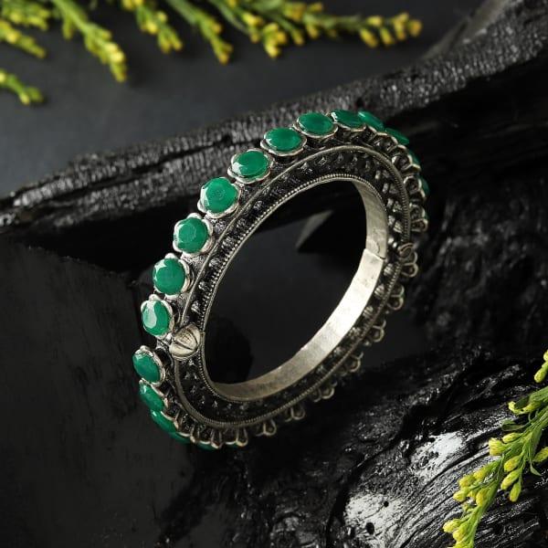 Green Stones Oxidized Matte Finish Kada Bangle