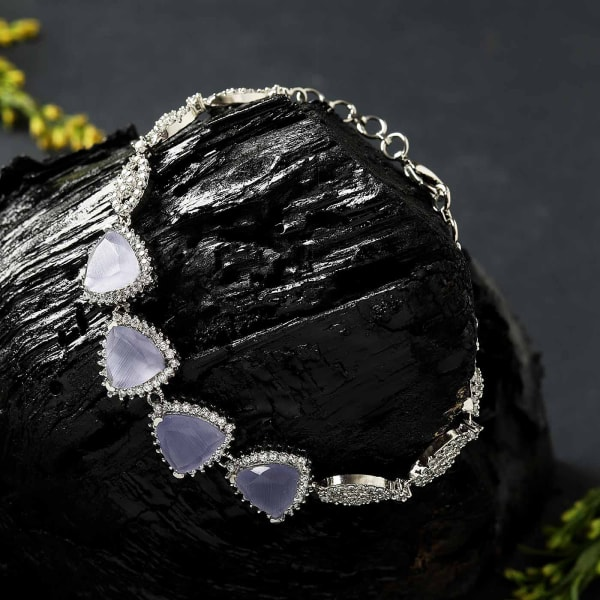 Grey CZ Stones Studded Silver Plated Women's Bracelet