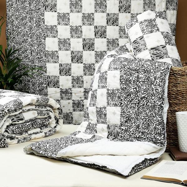 Grey Patchwork Block Print Single Cotton Quilt