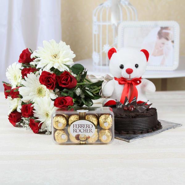 Half Kg Chocolate Cake (Eggless) with 15 Mixed Flowers & Ferrero Rocher Box