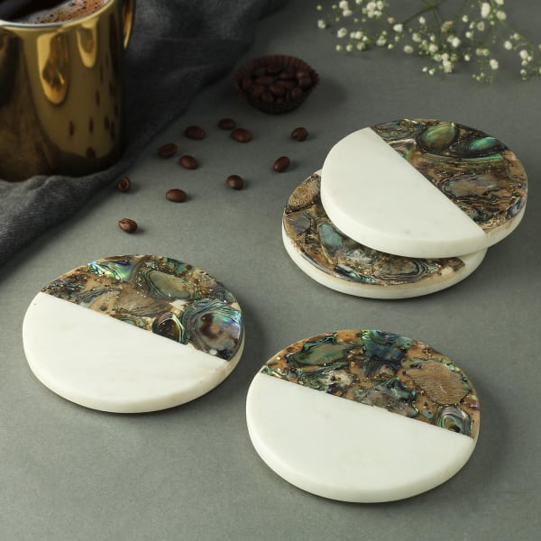 Half n Half Marble Coasters (Set of 4)