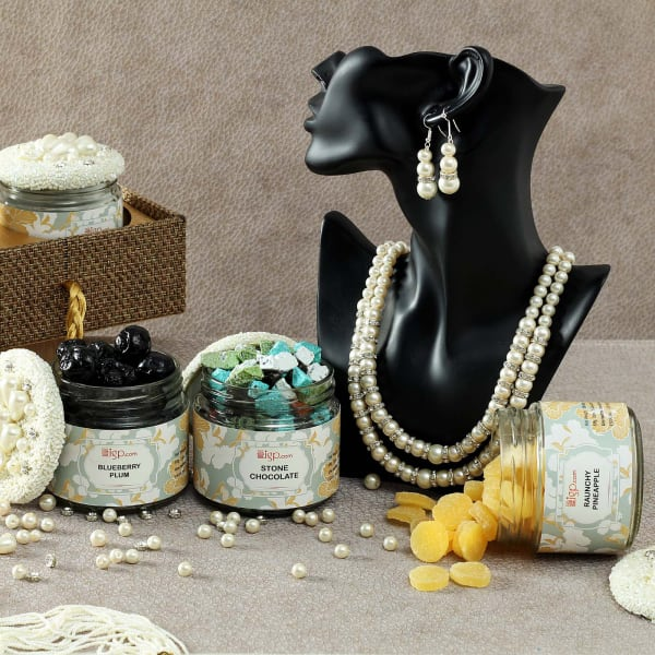 Hamper of Sweet Delights in Decorative Jars with Pearl Necklace Set