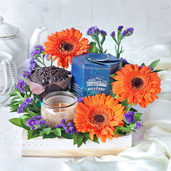 Hamper With Muffins & Flowers