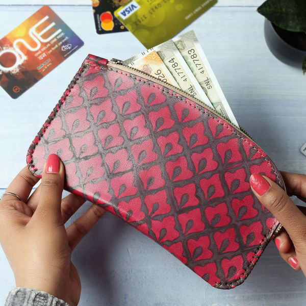 Hand Block Printed Leather Pouch Clutch