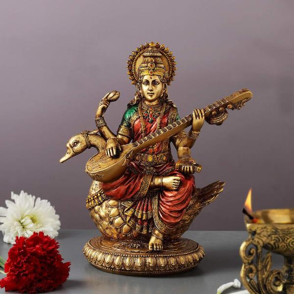 Hand Painted Goddess Saraswati Idol