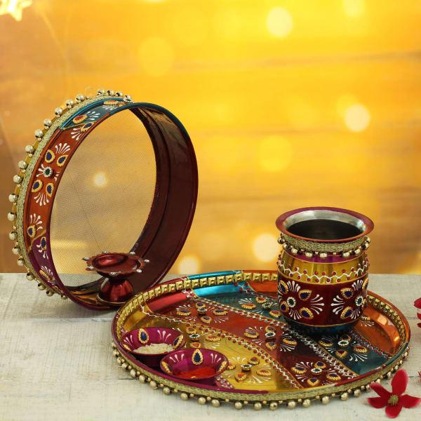 Hand Painted Karwa Chauth Thali Set