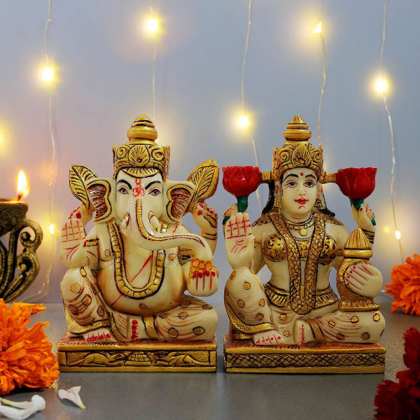 Hand Painted Lakshmi And Ganesha Idols