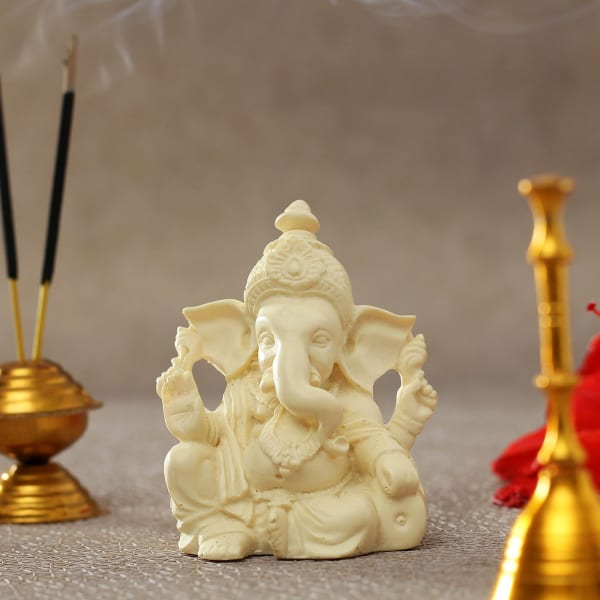 Handcrafted Ganesha Idol In Off White Gift Send Home And Living