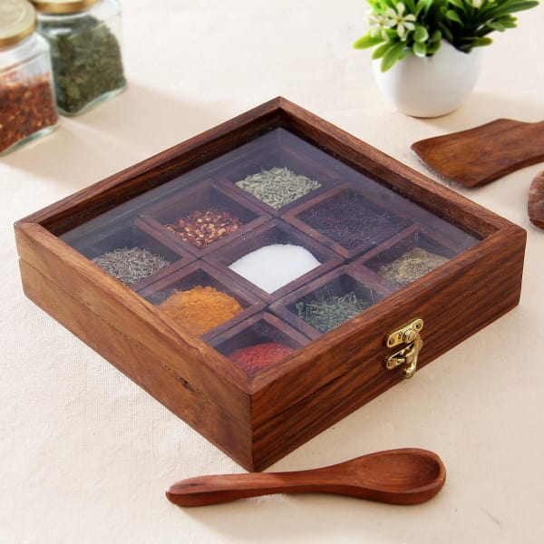 Buy Handcrafted Wooden Spices Container with Spoon kitchenware