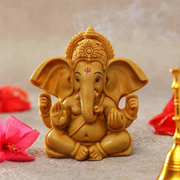 Handcrafted Yellow Ochre Ganesha Idol