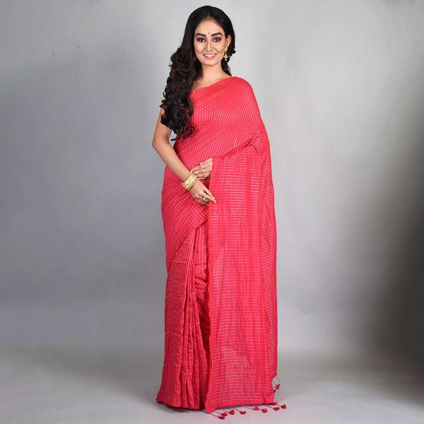 Handloom Cotton Saree With Zari Work - Pink