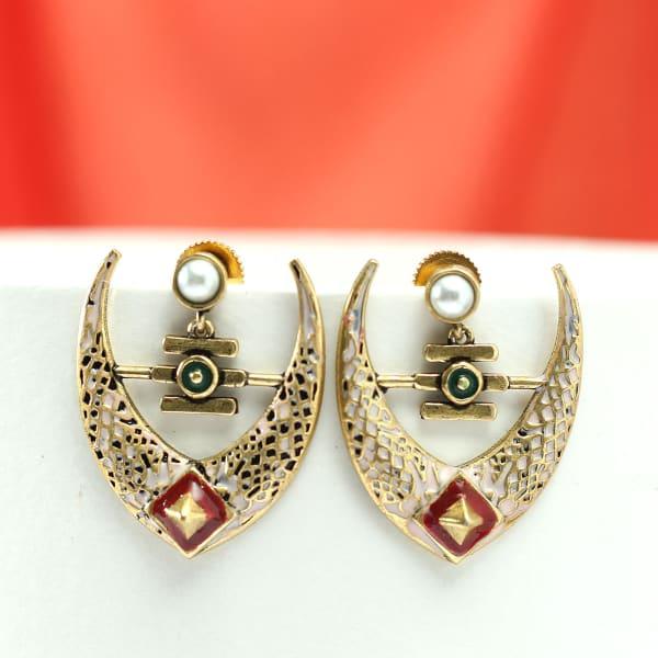 Handmade Antique Rajasthani Meenawork Earrings with Pearls