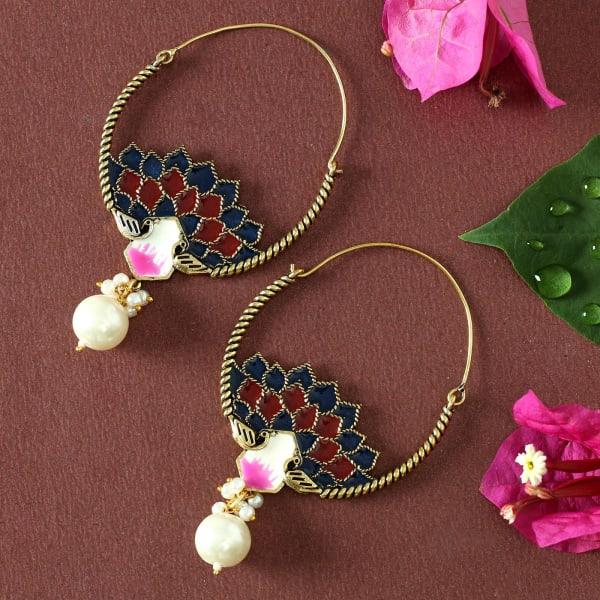 Handmade Rajasthani Meenawork Earrings with Pearls