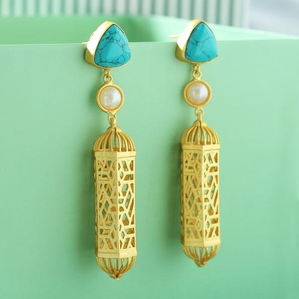 Handmade Turquoise & Pearl Earrings