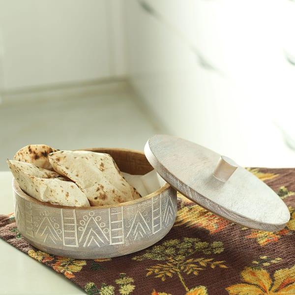 Handmade Wooden Carved Roti Box