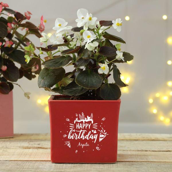 Happy Birthday Personalized Ceramic Planter