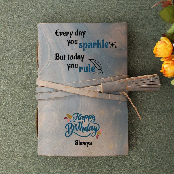 Happy Birthday Personalized Leather Journal