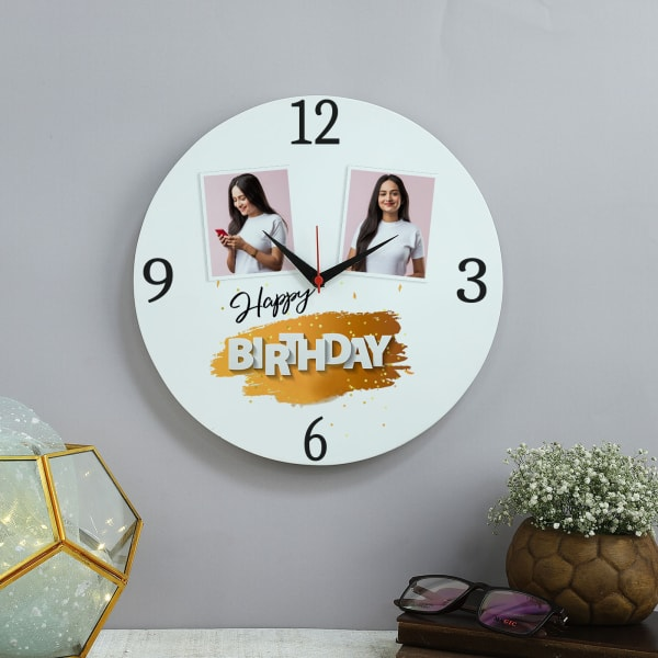 Happy Birthday Personalized Wooden Wall Clock