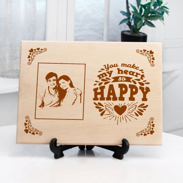 Happy Couple's Personalized Wooden Frame