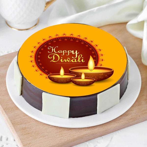 Happy Diwali Designer Diya Poster Cake (Half Kg)