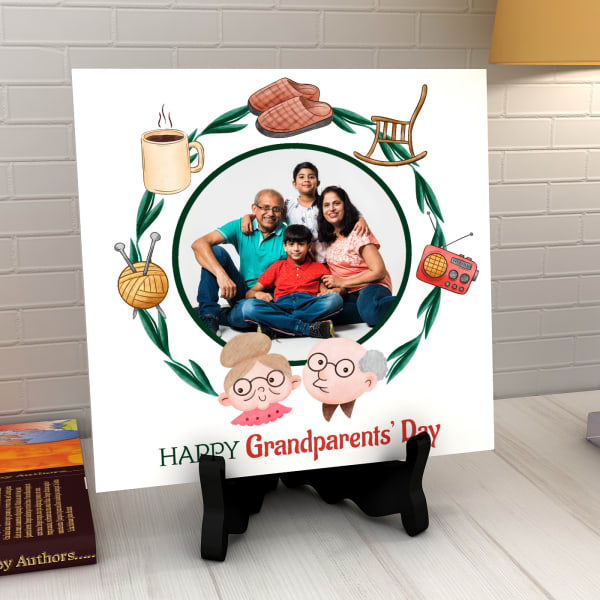 Happy Grandparents' Day Personalized Ceramic Tile with Stand