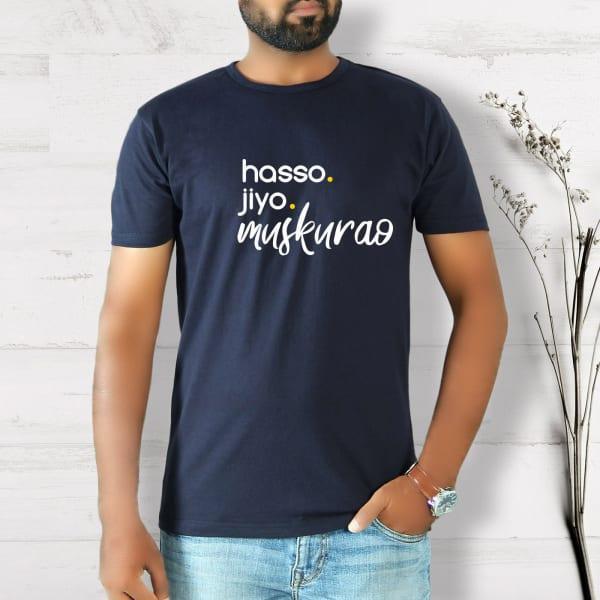 Hasso Jiyo Half Sleeve Men's T-Shirt - Navy Blue