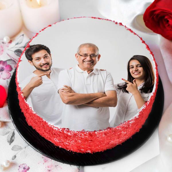 He's My Dad Photo Printed Red Velvet Cake (Half Kg)