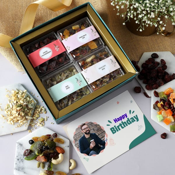 Healthy Snacks With Personalized Birthday Card