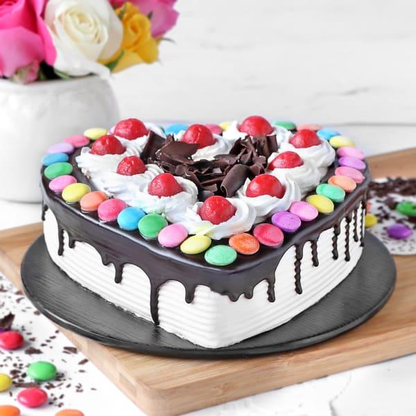 Heart Black Forest Gems Cake (Half Kg)