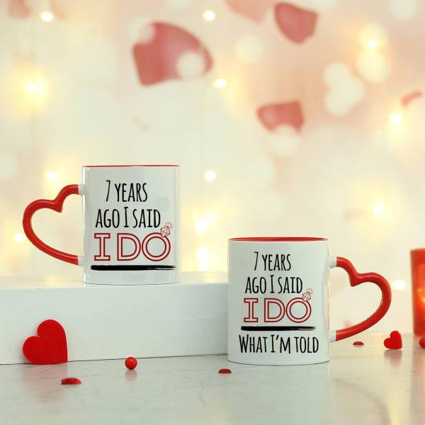 Heart Handle Magic Mug Set for Anniversary