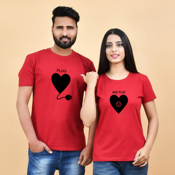 Heart Print Red Couple T-shirt