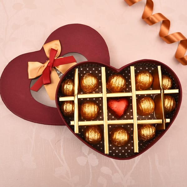 Heart Shape Box of Assorted Dark And Milk Chocolates