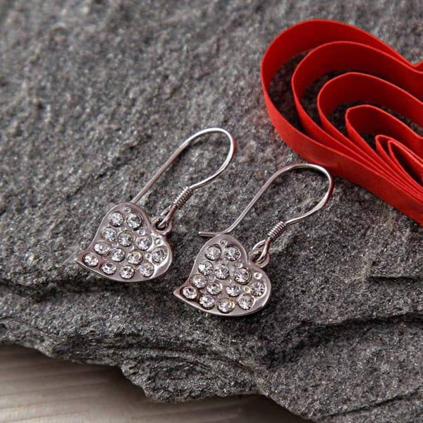 Heart Shape CZ Stone Embellished  Fish Hook Earrings
