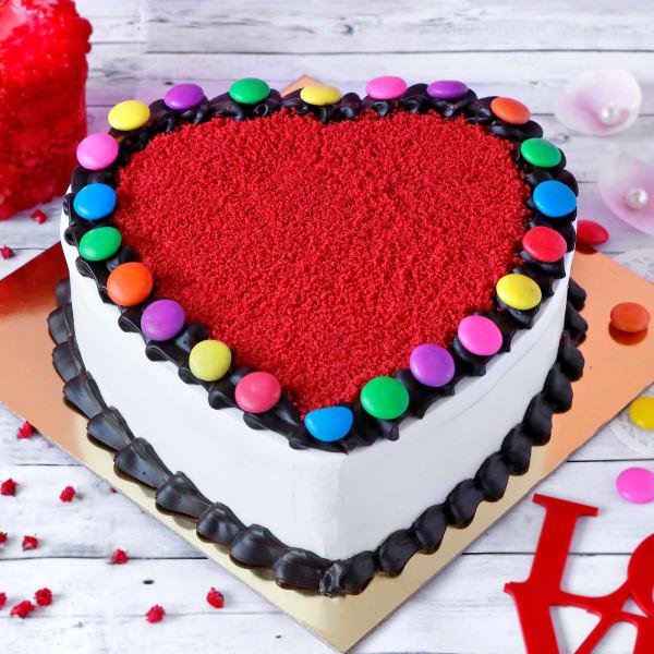 Heart Shape Gems Red Velvet Cake(Half Kg)