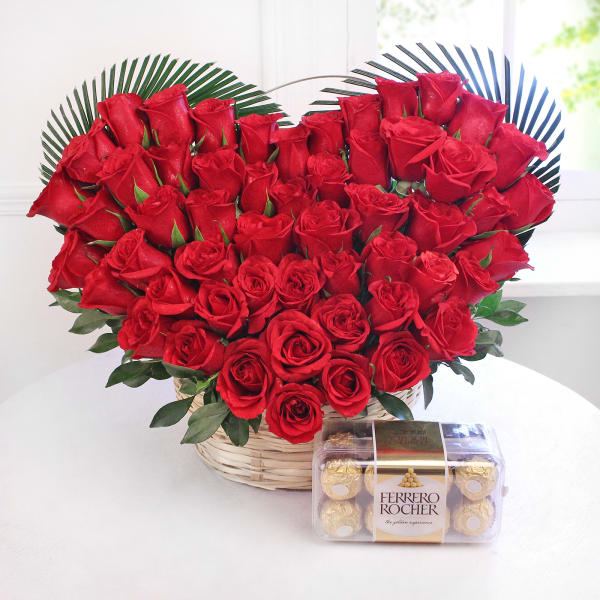 Heart Shaped Arrangement of 50 Red Roses with 16 Pcs Ferrero Rocher Chocolate