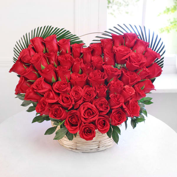 Heart Shaped Bouquet of 50 Red Roses in Basket