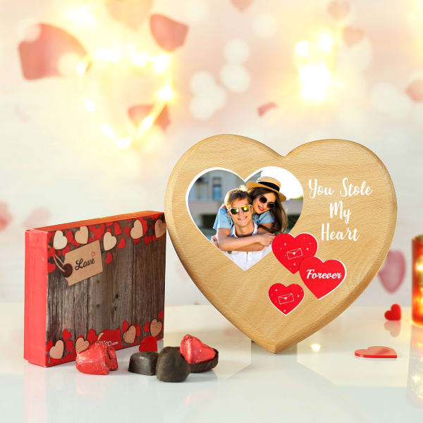 Heart Shaped Dark Chocolates with Personalized Wooden Photo Frame